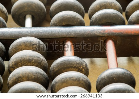 Antique wooden abacus as a background - stock photo