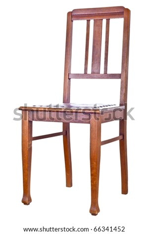 Antique wooden chair isolated over white - stock photo
