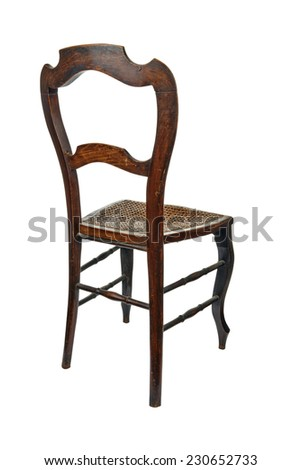 Antique wooden chair with cane isolated on white - 3/4 back view - stock photo