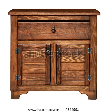 Antique wooden chest of drawers isolated on white background - stock photo