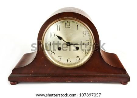 Antique wooden clock on white - stock photo