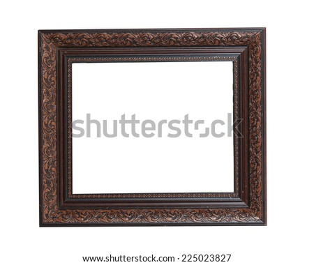 antique wooden frame On white background - stock photo