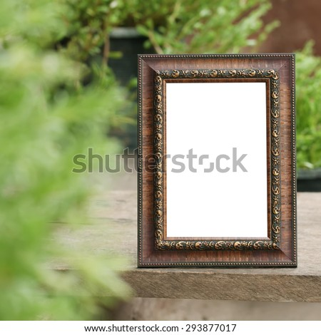 Antique wooden frame with the wooden floor on Nature Backgrounds. - stock photo