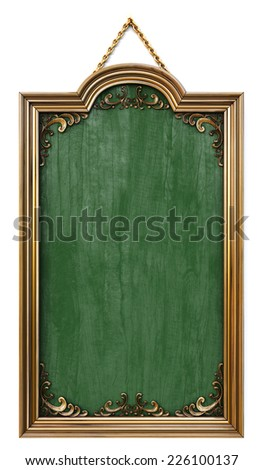 antique wooden menu board. isolated on white. - stock photo