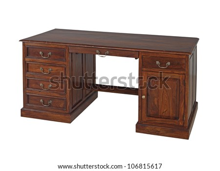 Antique wooden office desk isolated on white background - stock photo