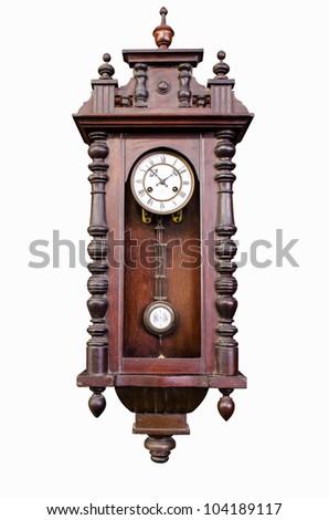 antique wooden pendulum clock isolated on white background - stock photo