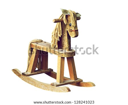 Antique wooden rocking horse isolated on white. - stock photo