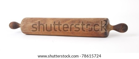 Antique wooden rolling pin, isolated. - stock photo