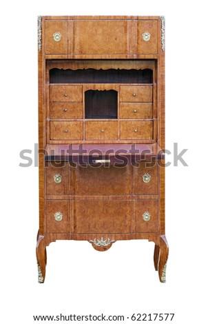 antique writing desk isolated on white - stock photo