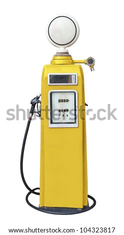 Antique yellow gas pump on white with clipping path - stock photo