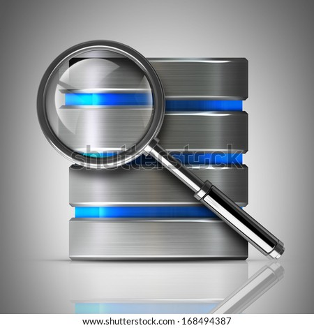 antivirus diagnostics. metal disk drive icon and magnifying glass High resolution 3d  - stock photo