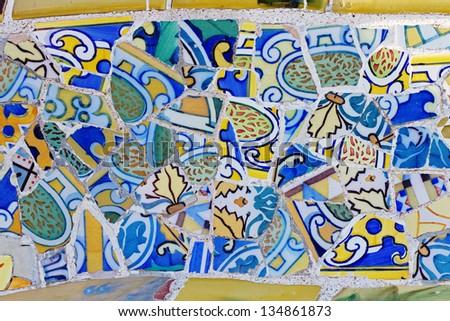 Antonio Gaudi mosaic work at Park Guell (1900-1914)- Barcelona - Spain. - stock photo