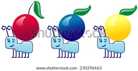 ants carrying different fruits  - stock photo
