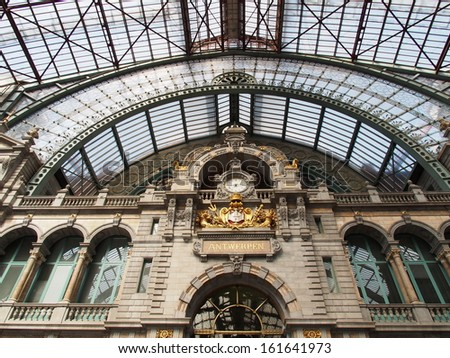 ANTWERP - AUG 21: Interior of Antwerp central railway station on August 21, 2013 in Antwerp, Belgium.  Antwerp central railway station is the main railway station in the Belgian city of Antwerp. - stock photo