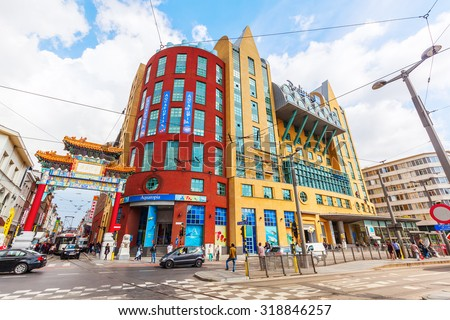 ANTWERP, BELGIIUM - SEPTEMBER 03, 2015: Radisson Blue hotel beside Aquatopia. Radisson Hotels is an international hotel company with more than 990 locations in 73 countries, ranging 4 and 5 stars. - stock photo