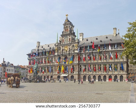 ANTWERP, BELGIUM - JULY 22, 2014: Antwerp Grote Markt with famous City Hall and Statue of Brabo - stock photo
