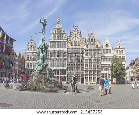 ANTWERP, BELGIUM - JULY 22, 2014: Antwerp Grote Markt with famous Statue of Brabo - stock photo