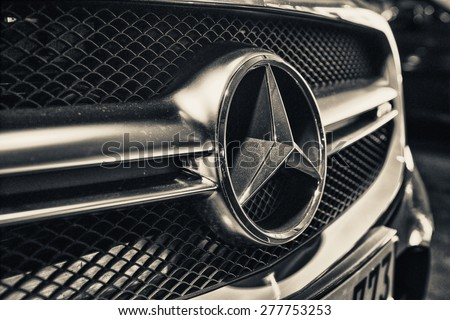 ANTWERP, BELGIUM - MAY 3, 2015: Mercedes Benz Sign Close Up. Founded in 1926 is a German luxury automobile manufacturer, a multinational division of the German manufacturer Daimler AG. - stock photo