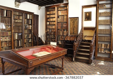 ANTWERP, BELGIUM - MAY 10, 2006: Old Plantin-Moretus printing plant and publishing house dating from the Renaissance and Baroque periods, UNESCO World Heritage Site - stock photo