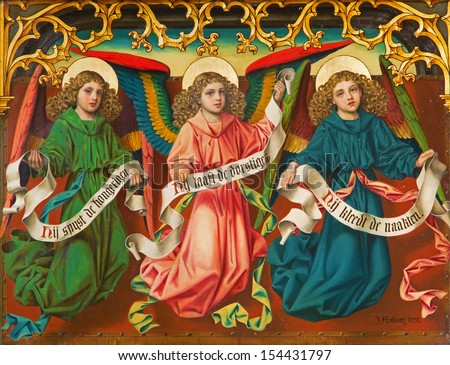 ANTWERP, BELGIUM - SEPTEMBER 4: Angels by J. Anthony from year 1898 from new-gothic side altar in the cathedral of Our Lady on September 4, 2013 in Antwerp, Belgium - stock photo
