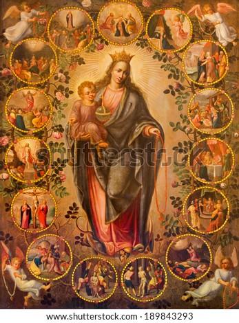 ANTWERP, BELGIUM - SEPTEMBER 5, 2013: Madonna of rosary. Paint from 19. cent. in side corridor of St. Pauls church (Paulskerk). - stock photo