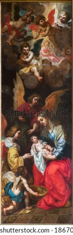ANTWERP, BELGIUM - SEPTEMBER 4, 2013: Naitvity of st. John the Baptist. Part of Sermon of st. John the Baptist triptych by Van Balen H. de Oude (1560-1632) in the cathedral of Our Lady. - stock photo