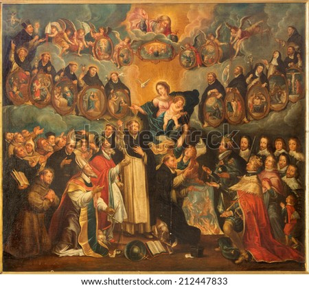 ANTWERP, BELGIUM - SEPTEMBER 6, 2013: The Saint Dominic with the rosary and the Madonna (17. cent. by unknown painter in Saint Willibrordus church. - stock photo