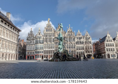 ANTWERP, BELGIUM - 15th of February 2014: Old houses in old town of ANTWERP, BELGIUM on 15th of February 2014 - stock photo