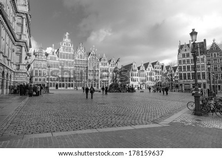 ANTWERP, BELGIUM - 15th of February:  Old town in ANTWERP, BELGIUM on 15th of February (black and white) - stock photo