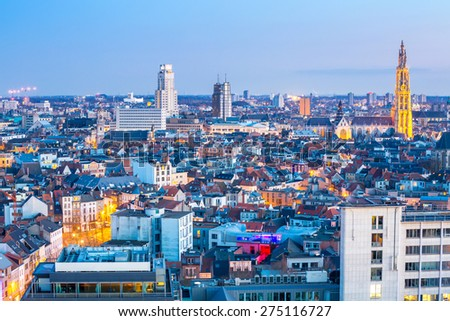 Antwerp cityscape with cathedral of Our Lady, Antwerpen Belgium at dusk - stock photo