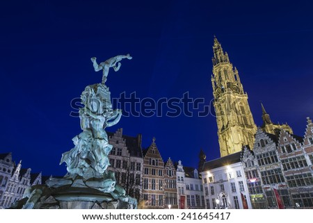 ANTWERP, FLANDERS, BELGIUM - November 13th 2014 Blue Hour view of the Cathedral of Our Lady in Antwerp - stock photo
