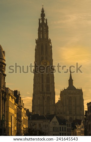 ANTWERP, FLANDERS, BELGIUM - November 13th 2014 Cathedral of Our Lady in Antwerp taken at dawn from Grote Markt - stock photo