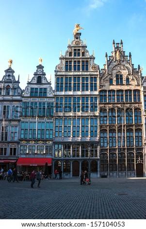 ANTWERP - MAY 18: Market square on May 18, 2013 in Antwerp, Belgium. Antwerp is the second biggest city  in Belgium with population of 512,000. - stock photo