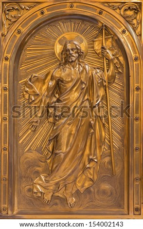 ANTWERP - SEPTEMBER 4: Relief of Resurrected Christ on the tabernacle  in Saint Willibrordus church on September 4, 2013 in Antwerp, Belgium - stock photo