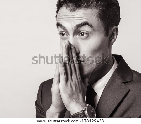 Anxiety young business man - stock photo