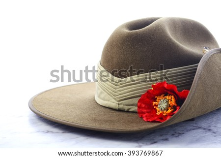 ANZAC Day, April 25, army slouch hat on white marble table.  - stock photo