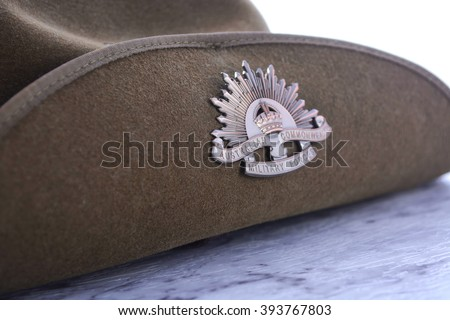ANZAC Day, April 25, army slouch hat on white marble table, closeup.  - stock photo
