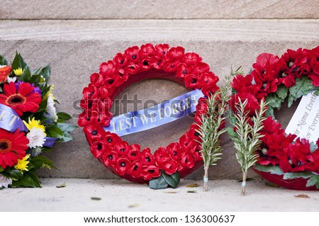 Anzac day, Memorial Day image. both poppies and rosemary are symbols of remembrance - stock photo