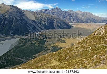 Aoraki//Mount Cook National Park, South Island, New Zealand - stock photo