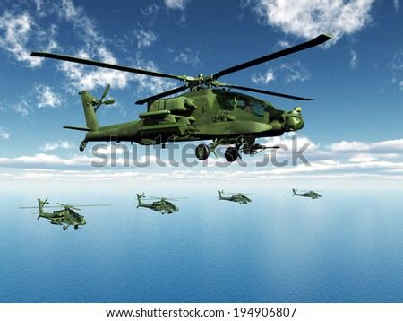 Apache Helicopters Computer generated 3D illustration - stock photo
