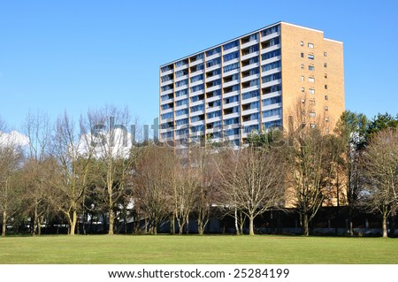 Apartment and trees - stock photo