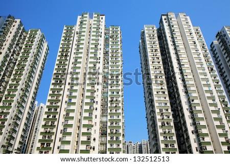 apartment block in Hong Kong - stock photo