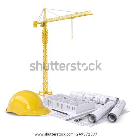 Apartment block under construction, crane, blueprints, drawing instruments, hard hat. On white background - stock photo