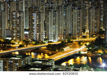 apartment building at night - stock photo
