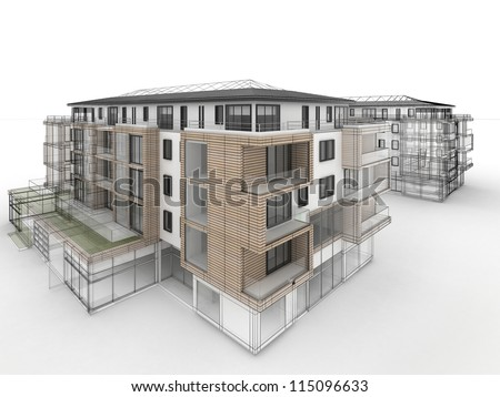 apartment building design progress, architecture visualization in mixed drawing and photo realistic style - stock photo