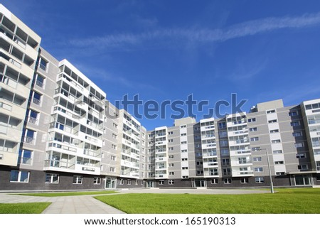 Apartment building in a new residential complex in Moscow - stock photo
