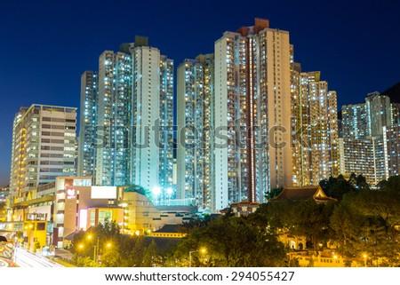 Apartment building in Hong Kong - stock photo
