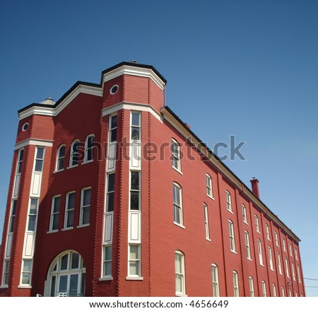 Apartment building in red. - stock photo