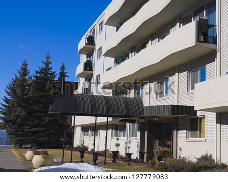 Apartment building in the city,  Residential architecture - stock photo