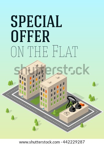 Apartment building. Isometric illustration. Electricity. - stock photo